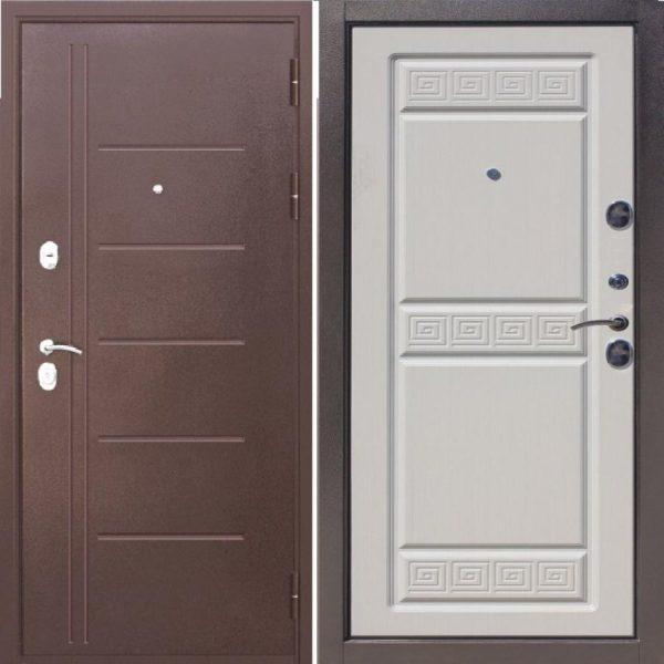 Входная дверь 10 см Троя медный антик Белый Ясень